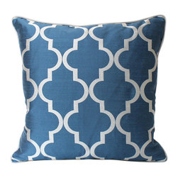 The Pillow Studio - Monaco Blue and Silver Fretwork Pillow Cover, Silver Piping - This Monaco Blue pillow with a silver fretwork is simple yet bold; the coordinating silver piping is the perfect finishing touch. And, did you hear that Monaco Blue is predicted to be a hot color in home design this spring? Just add a few of these pillows and your room is up to date and ready for the New Year!