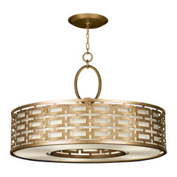 Fine Art Lamps - Allegretto Gold Pendant, 787640-2GU - Like fine jewelry, this pendant will surely dazzle. Looking both modern and timeless, the circular shape with linked rectangles comes in either burnished gold leaf or platinized silver with a textured white linen shade. It's a brilliant way to add sparkle and polish to your room.