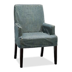 Napa Side Chair Slipcover, Short-Length Denim, Blue - Offering the utmost in comfort and versatility, our Napa Chair has a deeply cushioned seat that's covered with oat cotton-twill fabric and stands on espresso-stained legs. Machine-washable slipcovers are available for an easy style update. Sturdily crafted with a hardwood frame, legs and backrest. Each slipcover is tailored specifically for our Napa Chair, so the look is tailored and the fit is perfect every time. Chairs and slipcovers are sold separately; choose from a variety of options below. Monogramming is available at an additional charge. Monogram will be centered on the backrest section of the slipcover. Select items are Catalog / Internet Only. View our {{link path='pages/popups/fb-dining.html' class='popup' width='480' height='300'}}Furniture Brochure{{/link}}.