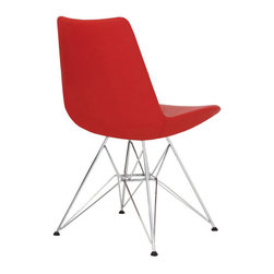 Eiffel Tower by sohoConcept - Brilliant red upholstery with cool chrome legs is just one of the myriad of looks you can choose from for the Mid-Century inspired Eiffel Tower Chair. You're sure to find one that's altogether perfect for your modern dining room.