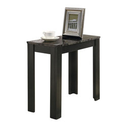 Monarch Specialties - Monarch Specialties 24 x 12 Rectangular Accent Side Table in Grey, Black - Add a classy appeal to your space with this grey marble top side table. Its black, solid and tapered legs are designed with subtle details that accentuate this piece. Place a lamp, picture frame, plant or any decorative accent on this functional side table. In a rich black solid-wood finish, it will add warmth to your room. What's included: Accent Table (1).