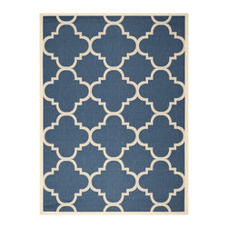 Safavieh - Safavieh Indoor/Outdoor Courtyard Dhurrie Navy/Beige Rug (9' x 12') - With a quatrefoil pattern that harks back to the glories of the Renaissance,this navy-blue indoor/outdoor rug from Safavieh gives any space a classical appeal. Durable materials allow this rug to survive either indoor or outdoor use.