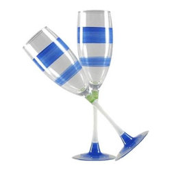 Retro Stripe Blue Champagne Glasses  Set of 2 - This lovely hand painted champagne flute is in a retro style.  It is blue with accent colors.  Perfect for any season or occasion.  Something to be handed down from generation to generation.  Proudly hand painted in the USA.