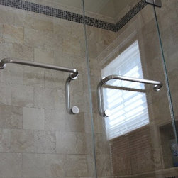 "Frameless Shower Enclosure with double doors - Fully frameless enclosure, double door system.  glass is 3/8"" starphire low iron glass, using handle towel bar combination."