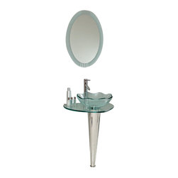 Fresca - Netto Glass Vanity w/ Wavy Edge Vessel Sink Tolerus Chrome Faucet - This innovative vanity of chrome hardware and glass basin will compliment any space with its deceptively simple enhancements.  A single stand core allows for extra home storage and a clear basin with a wavy edge.