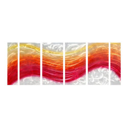 Pure Art - Haute Heat Metal Wall Art Set of 6 - A wide flowing band of red, orange, hot pink and gold runs across this work of art. Delicate circles of gold accent the pieces. This six panel metal wall hanging adds modern and contemporary style to any space. Ideal selection for use on a large wall to create an abstract focal area. Each panel has been hand painted and crafted with fine quality materials and suppliesMade with top grade aluminum material and handcrafted with the use of special colors, it is a very appealing piece that sticks out with its genuine glow. Easy to hang and clean.
