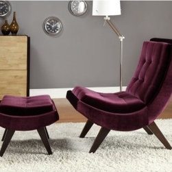 Lashay Velvet Lounge Chair & Ottoman - Purple - Do you sit in the Lashay Velvet Lounge Chair & Ottoman - Purple, or just stand back and admire it? Definitely sit. You'll melt into the soft purple velvet, tucked neatly around the extra thick padding. The curved theme of the chair and matching ottoman is supremely stylish, but you'll fall for how comfortable it is.About Homelegance, Inc.Homelegance takes pride in offering only the highest quality home furnishings that incorporate innovative design at the best value. From dining sets to mirrors, sofas, and accessories, Homelegance strives to provide customers with a wide breadth and depth of selection as well as the most complete and satisfying service available for their category. Homelegance distribution centers are conveniently located throughout the United States and Canada.
