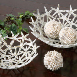 Starfish Bowls with Spheres, S/5 - Delightful, starfish design bowls with three spheres made of real seashells.