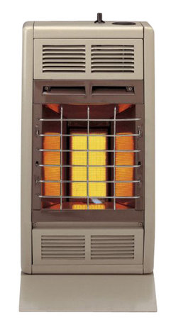 """Empire Comfort - Vent-Free Infrared Heater SR10NAT - Natural Gas - Empire Heating Systems Radiant models produce an infrared """"radiant"""" heat that instantly adds warmth to you and objects in the room just like the sun. Space-saving efficiency and convenient top-mounted controls make the SR-10 outstanding heaters to add radiant heat to your smaller rooms. Where local codes permit, the SR-10 is ideal for bathrooms."""