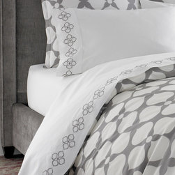 Jonathan Adler - Grey Embroidered Hollywood Sheet Set - Grey Hollywood Sheet Set