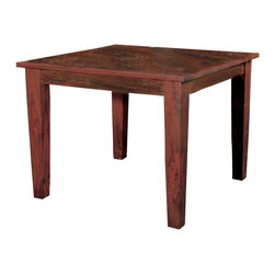 "Four Hands - Sheesham Solid Wood Square Dining Table, 58 Inch - You""ll love the rustic style of this square dining table with its thick plank top. It has a distinctive dimpled surface created by cross-planing that""s done by hand, making each table unique. Constructed using solid sheesham wood and given a dark oak stain. This table is ideal for most dining environments and you can certainly imagine how great it will look in a lake or mountain cabin. Table is available in two sizes."