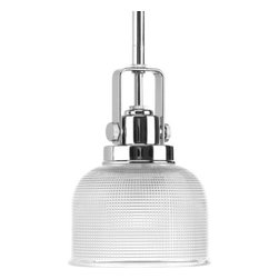 Progress Lighting - Progress Lighting P5173-15 Archie Single Light Mini Pendant Chrome - The Archie collection is a Traditional / Classic family that features finely crafted strap and knob detials with double prismatic glass. Progress Lighting features a custom hand rubbed Venetian Bronze and also a Polished Chrome in this stylish collection.  The full Archie Collection includes: 2 different pendants,1 island fixture, 3 different chandeliers, 1 close to ceiling fixture, 1 wall sconce, and a 2 light, 3 light, and 4 light bath and vanity fixture. Features: