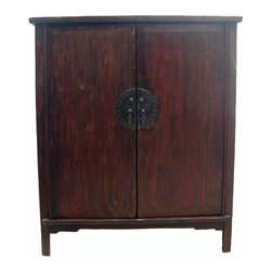 Large Living Room - This large cabinet was used to store clothes and bed ware such as comforters and linens by a family from Shandong Province in the Northern China. With the original brassware and patina, this magnificent antique cabinet adds Asian classics and elegancy to a family room, dinning room or bedroom. It has 3 shelves and two drawers inside, providing ample storage room. The structure and surface restoration was minimal.