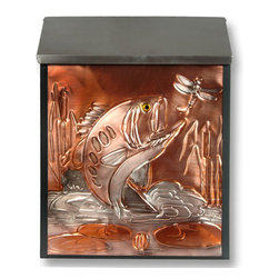 Bass & Dragonfly Locking Wall-Mount Copper Mailbox - Reflect your personality and style with this one of a kind wall mount mailbox with copper panel. The mailbox locks for added security, and features a hand-embossed leaping bass and dragonfly design on copper with color embellishments.