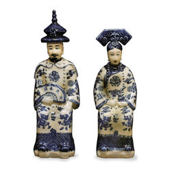 China Furniture and Arts - Blue & White Porcelain Emperor and Empress - Hand painted in a classic blue and white color scheme, these Qing Dynasty emperor and empress figures are adapted from 19th century European models. Finely crafted with expert attention to detail from the headdress to the elaborate pattern adorning their robes, a hand applied glaze accentuates their features. Sold as a pair.