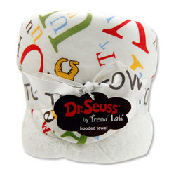 """Trend Lab - Bouquet Hooded Towel - Dr. Seuss ABC - Trend Lab's Dr. Seuss ABC Hooded Towel will keep your baby warm and dry after bath time. The white terry towel features a cotton percale scatter print the classic book's Icabod and Peter Pepper characters along with large and small letters throughout the hood and trim in barn red, cornflower blue, mango, avocado and chocolate on a white background. Hooded towel measures 32"""" x 30"""". Product sold under license from Dr. Seuss Enterprises, L.P."""