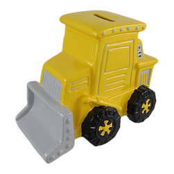 Bright Yellow Bulldozer Coin Bank Hand-Painted - This cool terracotta yellow bulldozer money bank really brightens up a room. The dozer measures 4 1/2 inches tall, 5 3/4 inches long and 3 3/4 inches wide. The bank empties via a pull-off plastic piece on the bottom. It is hand-painted, and makes a great gift for construction equipment enthusiasts.