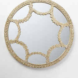 Floral Lace Mirror - One of my favorite home accessories right now is the round mirror. The trim around this version mimics floral lace. It's just beautiful.