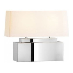 "Sonneman - Sonneman Mirror Square Bankette Table Lamp - The Mirror Round Table Lamp by Sonneman has been designed by Robert Sonneman. The Mirror Square Bankette Table Lamp makes a dramatic statement with a large base of polished stainless steel combined with an off-white linen shade. Includes in-line on/off switch.  Product description:  The Mirror Round Table Lamp by Sonneman has been designed by Robert Sonneman. The Mirror Square Bankette Table Lamp makes a dramatic statement with a large base of polished stainless steel combined with an off-white linen shade. Includes in-line on/off switch.    Details:         Manufacturer:     Sonneman      Designer:    Robert Sonneman        Made in:    USA        Dimensions:     Shade:Length:21"" (53.34 cm) X Width:9"" (22.86 cm) X Height:8"" (20.32 cm)  Overall:Length:21"" (53.34 cm) X Width:9"" (22.86 cm) X Height:16.25"" (41.28 cm)      Light bulb:     2 X E26 Medium Base Max 100W Incandescent (not included)        Material:      Metal, Linen"