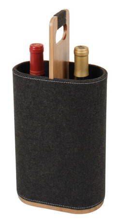 Great Useful Stuff - Duo Wine Carrier: Holds 2 Standard Wine Bottles, Felt - Let your wine make a statement at your next B.Y.O.Wine event!  This new Duo Wine Carrier is perfect for handling your carefully chosen wine bottles to ensure they are safely transported from one place to another. This sturdy Carrier comfortably holds two standard size bottles of wine and makes either a great hostess gift or just a classy way to transport your favorite wines. It is made of bamboo and 100% wool, which helps protect the bottles and keeps them from breaking/clinking. This item is a must-have for all wine lovers and entertainers to give your wine bottles the introduction they deserve!