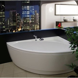 "Aquatica - Aquatica Idea Corner Acrylic Bathtub - Aquatica's Idea is aptly named; an ingenious idea for creating an immersive bathing experience nestled within a corner. The spacious basin of this corner bathtub is slightly angled, creating an outer shape that is longer and leaner to minimize its footprint in the bathroom without sacrificing indulgence.��� A corner ledge makes good use of the remaining space, attractively melding form and function. There are few luxuries in life that revitalize the body and enhance the decor of your home at the same time. Lucky for you, Aquatica's Idea bathtub will do just that. Aquatica's bathtubs offer modern glamour at affordable prices. The Aquatica line is diverse enough to encompass both bathtubs with classical elegance that match the style of your bath and bathtub models that are distinctive and unique as the centerpiece of your remodel.Features Striking upscale modern designFreestanding constructionSolid, one-piece construction for safety and durabilityExtra deep, full-body soakErgonomic design forms to the body's shape for ultimate comfortQuick and easy installationConstructed of 8mm thick 100% heavy gauge sanitary grade precision acrylicPremium acrylic and tub thickness provides for excellent heat retentionHigh gloss white surfaceColor is consistent throughout its thickness - not painted onColor will not fade or lose its brilliance overtimePreinstalled cable drive pop up and waste-overflow fitting includedDesigned for one or two person bathingNon-porous surface for easy cleaning and sanitizingBuilt-in metal base frame and adjustable height metal legsChrome plated drainAvailable in left corner or right corner installation configurations10 Year Limited WarrantyCode compliant with American standard 1.5"" waste outlets Specifications Overall Dimensions: 59 in. L X 35.75 in. W X 25.25 in. HDepth to Overflow Drain: 13.75 in.Interior Depth: 19 in.Interior Length (Top): 50 in.Interior Width (Top): 28.5 in.Interior Length (Bottom): 40.5 in.Interior Width (Bottom): 17.75 in.Weight: 135 lbsCapacity: 47 GallonsShape: CornerDrain Placement: Center Offset Spec Sheet for Left Spec Sheet for Right Note: This model usually ships in 1-2 days. Please allow an additional 2-3 business days for order transmittal and verification."