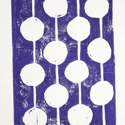 """Purple and White Bulbs"" Artwork - Handmade hand-carved and hand pulled purple and white linocut art print of bulbs using purple printing ink. A single modern design of hanging bulbs. Simple art is the best!  This print is in the series of ""party bulbs. ""  Each linocut print is printed to order. I have carved into the linoblock by hand. Then I carefully ink the block and print the print. Each one comes out a little different due to the variation that occurs with truly handmade.   *** Medium: Hand carved, hand-pulled linocut print.  *** Size: 8x10 inches signed on the back. *** Ink: Printers Ink mixed color by hand. *** Paper: 100% cotton rag paper 140 lb (treeless) with hand-torn edges. *** Uniqueness: Each print is pulled by hand one at a time. Variation is part of the beauty.  *** Frame: Not included."