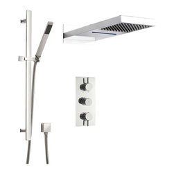 Hudson Reed - Thermostatic Shower System With Waterfall & Rainfall Fixed Head Rail Kit Handset - Enjoy a shower experience like no other with this unique shower system that incorporates both rainshower and waterfall functions in a single solid brass shower head.