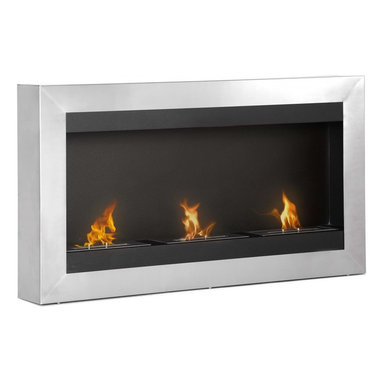 "Ignis - Magnum Wall Mounted Ventless Ethanol Fireplace - Set the mood for romance with this Magnum Wall Mounted Ethanol Fireplace. It features a show stopping design with a one-piece frame made from durably beautiful stainless steel that will have the attention focused on your wall. This unit is equipped with three 1.5-liter burners to throw up to 18,000 BTUs to keep your snuggly warm. Mount it on the wall or install it in a recessed setting for versatility, and it is ideally sized for installation beneath a wall-mounted television. It is available with optional safety glass and is sure to provide you with years of inviting warmth. It comes with three burners and a damper tool for your convenience. Dimensions: 43.5"" x 24.5"" x 6"". Features: Ventless - no chimney, no gas or electric lines required. Easy or no maintenance required. Easy Installation - Mounts directly on the wall (mounting brackets included). Capacity: 1.5 Liter per Burner. Approximate burn time - 5 hour per Burner per refill. Approximate BTU output: 6000 per Burner (total BTU - 18000)."