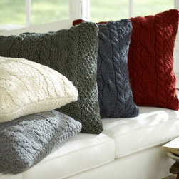 Hand-knit Cable Pillow Cover - These cable-knit pillows are handmade and evoke the feeling of living in a cozy cabin.