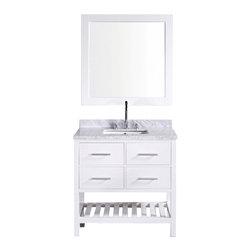 "Design Element - Design Element DEC077A-W London 36"" Single Sink Vanity Set in White - Design Element DEC077A-W London 36"" Single Sink Vanity Set in White"