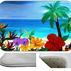 Tropical Flowers Plush Bath Mat, 20X15 - Bath mats from my original art and designs. Super soft plush fabric with a non skid backing. Eco friendly water base dyes that will not fade or alter the texture of the fabric. Washable 100 % polyester and mold resistant. Great for the bath room or anywhere in the home. At 1/2 inch thick our mats are softer and more plush than the typical comfort mats.Your toes will love you.