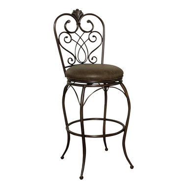 American Heritage - American Heritage Solace 30 Inch Bar Stool in Autumn Rust - Add a bit of exotic Moroccan style to your decor with this delicate but tough curved metal stool. Clay finish with 3 Inch cushion in Coco, full-bearing 360 degree swivel construction, adjustable leg levelers, and durable Uniweld construction What's included: Stool (1).