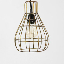 Caged Pendant, Gold - Industrial glam at its best. A few of these gold cage light fixtures would look great paired together over a kitchen island.