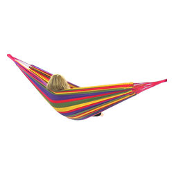 "Sunnydaze Decor - Cotton Hammock in ""Warm"" Colors, Rainbow - Bed size: 80in long, 60in wide"