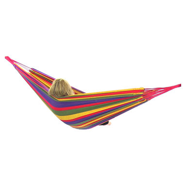 """Sunnydaze Decor - Cotton Hammock in """"Warm"""" Colors, Rainbow - Bed size: 80in long, 60in wide"""