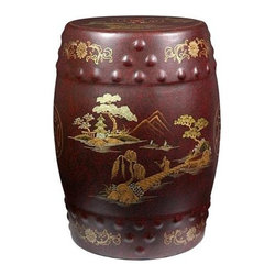 Oriental Unlimted - Handcrafted Porcelain Glazed Garden Stool in - A classic garden stool. Handcrafted by artisans in the Guangdong province of mainland China. Inspired by Chinese craftsmanship of the 18th century. Hand-painted Japanese landscape design. May be placed indoors or out. Glazed porcelain with raised dots and a pierced design. Can be used as a seat, plant stand or side table. Hand finished in a rich and clear lacquer. 11.5 in. Dia. x 18 in. H