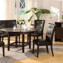 Modus - Bossa 54 in. Round Dining Table Set in Dark C - Set includes 54 in. round dining table, 4 Black leatherette dining height Parsons chairs, 1 Black leatherette dining height banquette & Dark Chocolate sideboard. Elegant & sophisticated look. Floating top & apron detail. Large apron gives the table a substantial feel. Simple assembly procedure to build table base & attach table top. Stylish design blends contemporary & transitional elements. 30 in. High dining table designed for 20 in. high seats. Made of Birch solid wood & Eastern Ash wood veneer. Assembly required. Table top: 54 in. Dia x 3.5 in. H (103 lbs.). Table base: 24 in. L x 24 in. W x 29 in. H (26 lbs.). Dining height parsons chair: 21 in. W x 27 in. D x 40 in. H (34 lbs.). Dining height banquette: 53 in. L x 28 in. W x 40 in. H (47 lbs.). Sideboard: 50 in. W x 18 in. D x 36 in. H (142 lbs.)In Brazil, to do something with Bossa is to do it with particular charm and natural flair. Available in counter and dining height with 48 and 54 inch tops, Bossa tables pair straight lined architectural bases with round floating tops, built out edge bands and book matched veneer surfaces. Parsons chairs, banquettes and kitchen counter stools are available in several fresh colors and blend transitional button tufting with a contemporary profile, upholstery application and wood finish. The result is an urban contemporary casual dining set designed with ample Bossa.Bossa chairs, banquettes and stools feature no-sag web seat cushions for extra comfort and 10 bolt grooved corner block construction for easy assembly and long term durability. Bossa tables are built with solid birch legs and Ash wood veneer tops finished in a versatile multi-step Chocolate Brown finish that showcases wood surfaces while protecting them from spills and scratches.