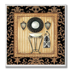 Stupell Industries - Black Veranda Sink Wall Plaque - Made in USA. Ready for Hanging. Hand Finished and Original Artwork. No Assembly Required. 12 in L x .5 in W x 12 in H (2 lbs.)Point your guests in the right direction with elegant bathroom plaques from The Stupell Home decor CollectionEach plaque comes with a sawtooth hanger for easy installation on bathroom doors or walls.