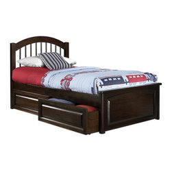 Atlantic Furniture - Full Windsor Platform Bed / Raised Panel Footboard / Raised Drawers - Featuring storage drawers, this Windsor Bed by Atlantic Furniture will make your bedroom more convenient and comfortable. Also, the bed has Eco-Friendly solid rubberwood construction, arched headboard with vertical spindles and raised panel footboard.