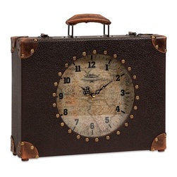 Vintage Look World Map Suitcase Clock - *Old world charm and a traveler's mystique are packed in this World Map Suitcase Clock. The perfect size for a desktop, mantle or shelf, this clock will tell you when it's time to travel.