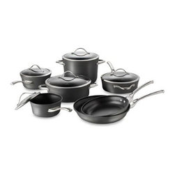 Calphalon - Calphalon Contemporary Nonstick 12-Piece Cookware Set - Calphalon Contemporary Nonstick cookware features heavy-gauge, hard-anodized aluminum construction for durability and rapid, even heating. Contemporary design with multi-layer nonstick ensures exceptional cooking performance and lasting use.
