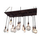 Industrial Lightworks - Mid Century 12 Light Chandelier - Edison Style, Without Frame, Oil Rubbed Bronze - One of a kind mid century chandelier. Inspired by a combination of industrial, mid-century, and arts and crafts design. The pattern will vary per chandelier.