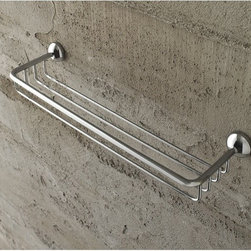 Toscanaluce - Wire Shower Basket - Unique, modern design wall mount shower basket. Stylish, rectangular wall hung soap or sponge basket is made out of brass in a polished chrome finish. Wall shower basket mounts easily to wall with screws. Made in Italy by Toscanaluce. Unique, contemporary style wall mounted wire shower basket. Shampoo bottle or soap holding shower basket made out of brass in a polished chrome finish. Decorative and beautiful wall basket for bathroom. From the Toscanaluce Riviera Collection.