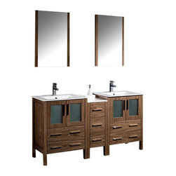 "Fresca - 60"" Walnut Brown Double Sink Vanity w/ Side Cabine Cascata Brushed Nickel Faucet - Fresca is pleased to usher in a new age of customization with the introduction of its Torino line.  The frosted glass panels of the doors balance out the sleek and modern lines of Torino, making it fit perfectly in eithertown or country decor."