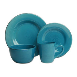 Tag Everyday - Sonoma Dinnerware Collection - Set of 16 - Tu - Made of ironstone. All pieces are hand painted with distressed strokes. Microwave and dishwasher safe. Mix and match colors. Set includes 4 each of dinner plate, salad plate, cereal bowl and mug. Color: Turquoise. 11 in. Dia. 8.25 in. Dia. 3.25 in. H x 6 in. Dia. 4.25 in. H x 4 in. dia (14 oz. capacity)
