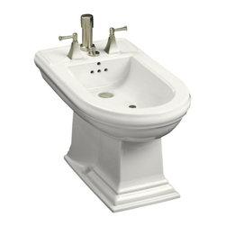 KOHLER - KOHLER K-4886-0 Memoirs Bidet Plumbed for Vertical Spray Bidet Faucet - KOHLER K-4886-0 Memoirs Bidet Plumbed for Vertical Spray Bidet Faucet in White