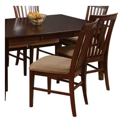 Atlantic Furniture - Atlantic Furniture Mission Side Chair in Antique Walnut (Set of 2) - Atlantic Furniture - Dining Chairs - AD771134 - The Atlantic Furniture Mission Dining Side Chairs are constructed from Eco-friendly solid hardwood and have an elegant Antique Walnut wood finish. This set of two dining side chairs feature a vertical slat back design and a Cappuccino colored seat cushion. The Mission Dining Side Chairs are perfect for a casual dining room setting.