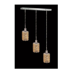 Elegant Lighting - Mini Topaz Crystal Pendant w 3 Lights in Chrome (Strass Swarovski) - Choose Crystal: Strass Swarovski. 3 ft. Chain/Wire Included. Bulbs not included. Crystal Color: Lt. Topaz (Yellow). Chrome finish. Number of Bulbs: 3. Bulb Type: GU10. Bulb Wattage: 55. Max Wattage: 165. Voltage: 110V-125V. Assembly required. Meets UL & ULC Standards: Yes. 14.5 in. D x 8 to 48 in. H (8lbs.)Description of Crystal trim:Royal Cut, a combination of high quality lead free machine cut and machine polished crystals & full-lead machined-cut crystals..SPECTRA Swarovski, this breed of crystal offers maximum optical quality and radiance. Machined cut and polished, a Swarovski technician¢s strict production demands are applied to this lead free, high quality crystal.Strass Swarovski is an exercise in technical perfection, Swarovski ELEMENTS crystal meets all standards of perfection. It is original, flawless and brilliant, possessing lead oxide in excess of 39%. Made in Austria, each facet is perfectly cut and polished by machine to maintain optical purity and consistency. An invisible coating is applied at the end of the process to make the crystal easier to clean. While available in clear it can be specially ordered in a variety of colors.Not all trims are available on all models.