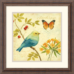 Amanti Art - Garden Passion I Framed Print by Daphne Brissonnet - Birds and butterflies perched amongst the blossoms and berries in this richly detailed art print. An excellent choice for nature lovers, this image adds quiet beauty to any wall.