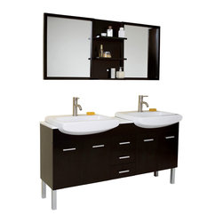 Fresca - Fresca Vetta Double Sink Modern Bathroom Vanity - You saw this vanity in that showroom downtown where all the chic things in life come together and demand to be placed in your home. Your space requires something stunning but not stunned, something simple but with great little touches. This is a great double sink vanity with an espresso finish solid oak wood that fits every desire. Clean lines and slim details create a sleek modern urban creation that calmly brings a bathroom together. Details such as chrome hardware and a white ceramic basin complete a streamlined look that brings a touch of quiet class to any decor. This Vanity consists of slow closing hinges on side doors, self closing top quality mechanism on the pull-out shelfs. Thick and glossy countertop.
